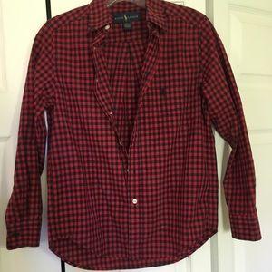 Other - Ralph Lauren red/black checker button down, 10-12